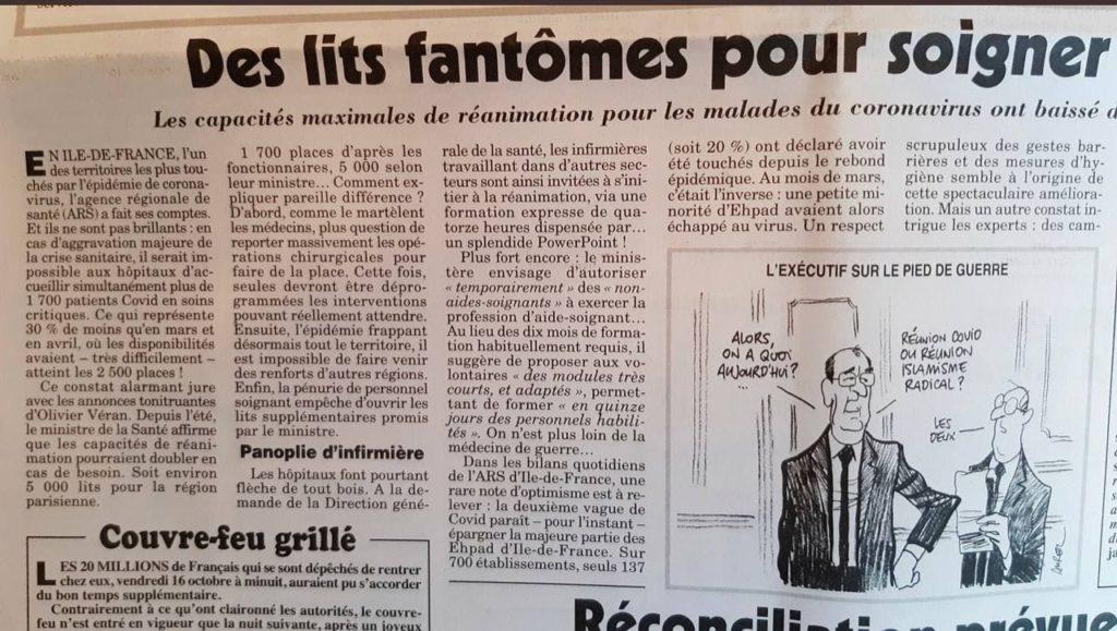 Article du Canard Enchainé sur la baisse du nombre de lits de réanimation en Ile-de-France